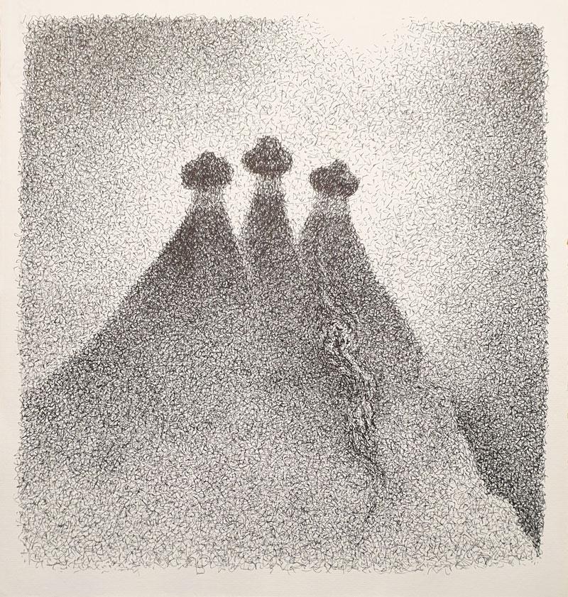 Tres picos - Dibujo con tinta china, 35 x 33 cm, 2020