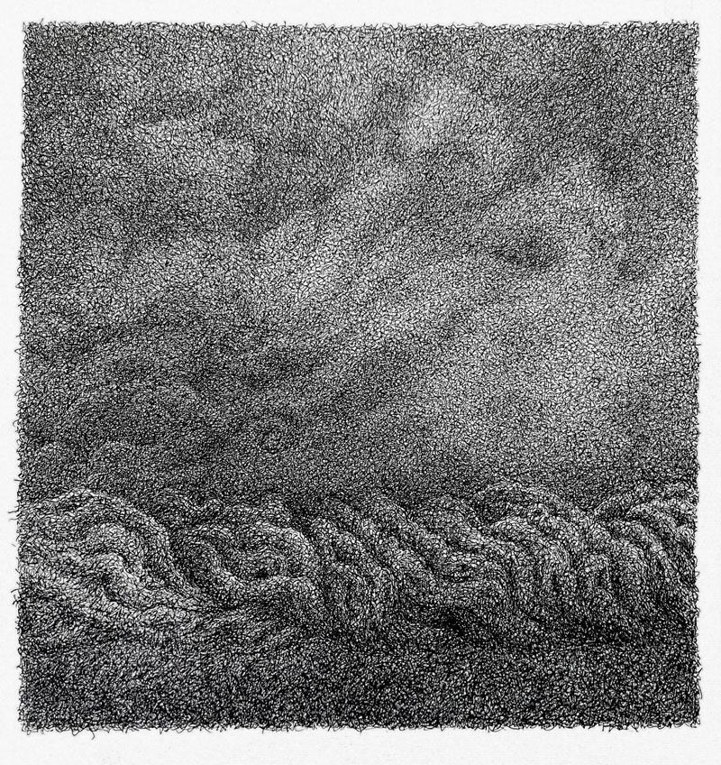 Las nubes negras siguen - Dibujo con tinta china, 35 x 33 cm, 2020