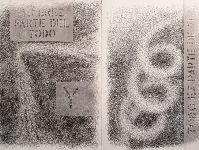 TU ERES PARTE DEL TODO Y TODO ES PARTE DE TI - Dibujo con tinta china y papel vegetal, 35 x 50 cm, 2019