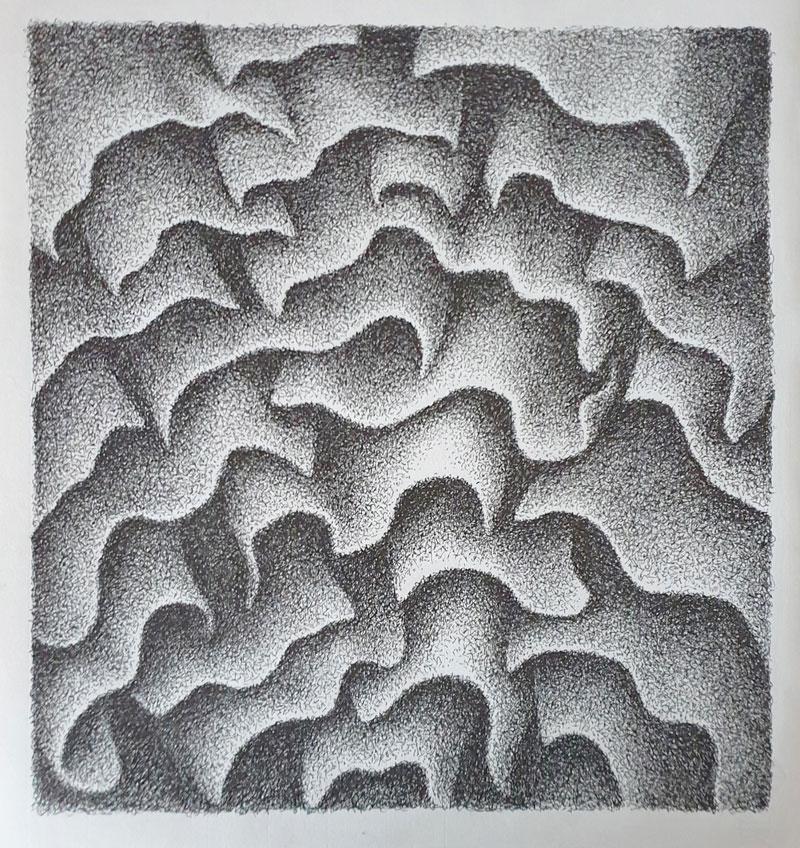 Suave, ligero y silenciosamente se desliza hacia abajo - Dibujo con tinta china, 35 x 33 cm, 2020