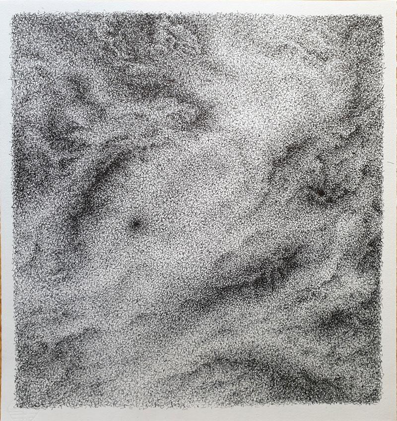 Topografía del interior 4 - Dibujo con tinta china, 35 x 33 cm, 2020