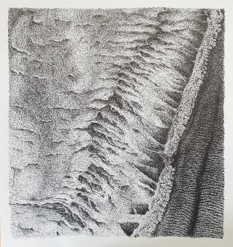 Topografía del interior 5 - Dibujo con tinta china, 35 x 33 cm, 2020
