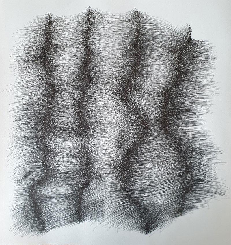 Dibujando con el Kölnkonzert de Keith Jarrett - Dibujo con tinta china, 25 x 23 cm, 2020