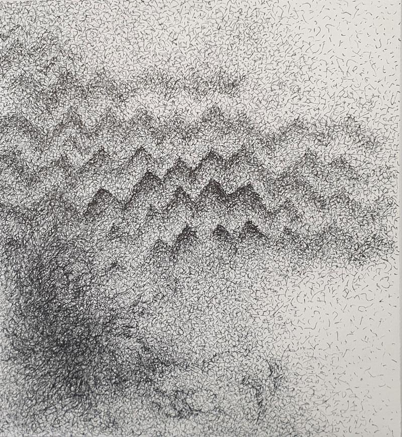 Vibraciones I, tríptico - dibujo con tinta china, 25 x 23 cm, 2020