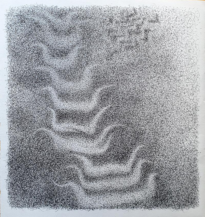 Los barquitos empiezan a volar - Dibujo con tinta china, 35 x 33 cm, 2020