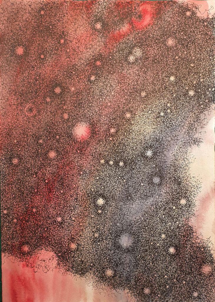 La ola se acerca, estado 3 - Acuarela y tinta china, 35 x 25 cm, 2020